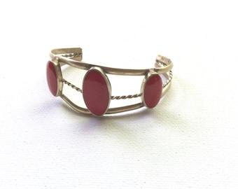 Retro Silver and Red Stone Cuff Bracelet
