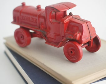 Vintage cast iron toy red gasoline truck, JM334 C-Cab cast iron doorstop or bookend