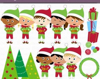 Christmas Elves Digital Art Set Clipart Commercial Use Clip Art INSTANT Download Christmas Clipart