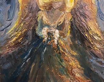 Original oil painting Guardian Angel abstract palette knife impressionism on canvas fine art by J. Beaudet