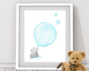 blue elephant digital download, baby elephant, elephant art for nursery room, boy's nursery room, elephant instant download, baby animal