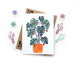 Monstera Deliciosa Charlie Brown Christmas Tree | Holiday Watercolor Vintage Christmas Ornaments Illustrated Card