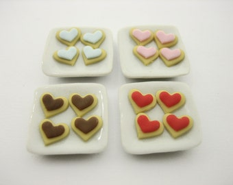 DollHouse Food Supplies Miniatures Food Accessories 4 Plate Loose Ice Miniature Cookie Mixed Color Dollhouse Bakery Dolls Charms - 11265