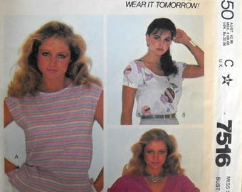 McCall's 7516 Misses Tops Pattern Size 12, Factory Folded Uncut,  Vintage 1981, Sewing Pattern 1980s Blouse Pattern