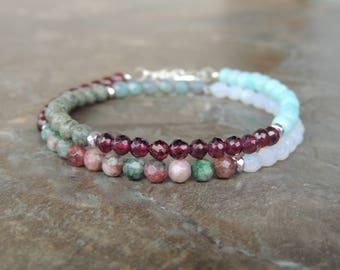 Boho Bracelet for Women - Amazonite Bracelet - Garnet Bracelet - Gemstone Bracelet for Her - Jasper Bracelet - Wrap Bracelet