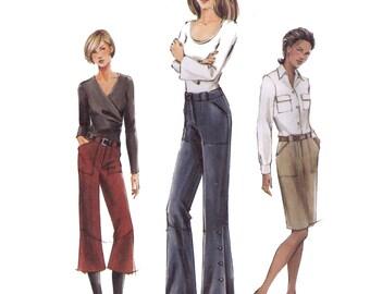 Uncut ogue 7805, sewing pattern, size 6-10 women's skirt pattern, straight pants, flared pants