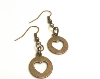 Heart Earrings Heart Jewelry Girlfriend Gift Brass Earrings Teen Gifts Tween Women Trending Jewelry Sale