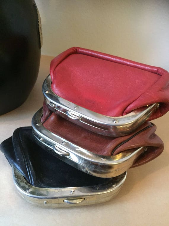Leather coin purses/swedish/vintage/1960s/leather purse/sweden/red/brown/black