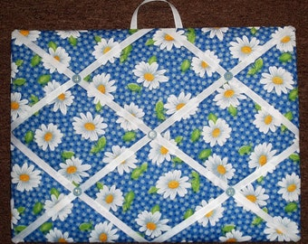 """white daisies with blue floral background memo photo bulletin board 12"""" X 16"""""""