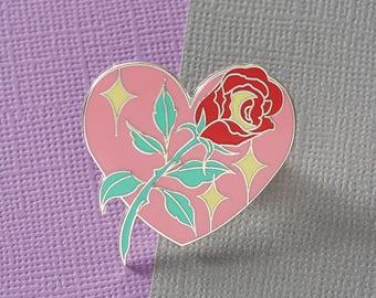 SALE* Thorny Rose Enamel Pin in Pastel // Halloween Pin /Badge/ Lapel Pin //