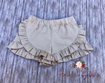 Girls Ruffle shorts, toddler ruffle shorts, ruffle shorties, back to school shorts, khaki ruffle shorts
