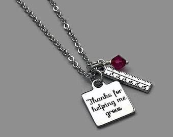 Teacher Charm Necklace, Teacher Necklace, Thanks For Helping Me Grow, Teacher Gift, Teacher Jewelry, Ruler Charm, Teacher Appreciation Gift