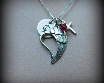 Sterling silver angel wing necklace, love jewelry, memorial jewelry, spiritual necklace, personalized