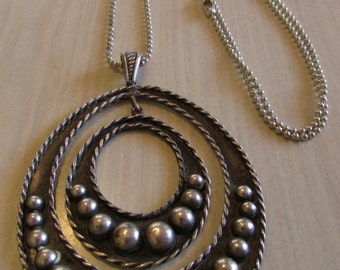 Sterling Silver Necklace with Twisted Wire, Silver Balls and Chain.