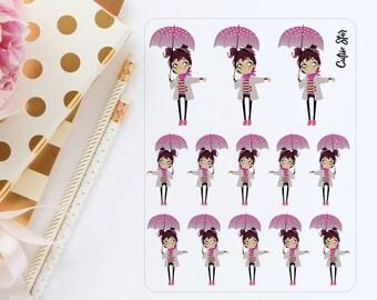 Umbrella Rainy Day Planner Stickers | Scrapbook TN Stickers