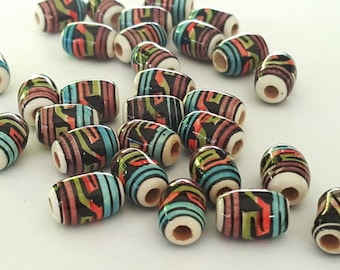 Hand Painted Tribal Peruvian Ceramic beads, Ceramic beads, Beads, Ceramic hand painted beads, Hand painted Beads (10c)