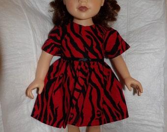 Red & black Zebra print dress for 18 inch dolls - ag304
