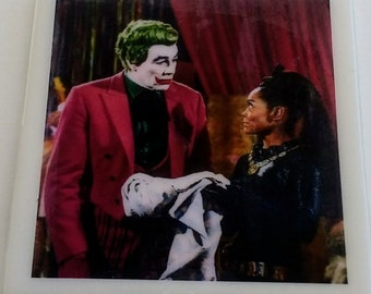 "Batman 1960's TV series coaster The Joker Catwoman Cesar Romero Eartha Kitt ""The Funny Feline Felonies"" DC Comics ""The Joke's on Catwoman"""