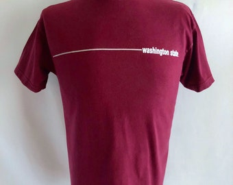Vintage Unisex 90's Washington State, T Shirt, Burgundy, Short Sleeve (M)