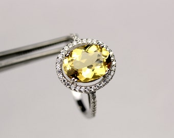 Flawless Yellow Beryl Oval in a brilliantly Accented Sterling Silver Ring