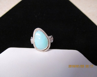 Silver sleeping beauty turquoise ring