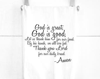 God is Good God is Great Daily Bread Prayer Tea Towel Kitchen Decor