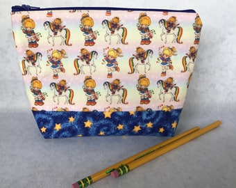 Rare Girls Rainbow Brite Fabric Cotton 80s Retro Makeup Bag Gift Cosmetic Bag Pencil Pouch Starlite Stars Sprite, Knitting