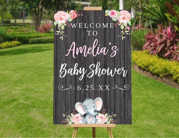Elephant Baby Shower Decorations Girl, Baby Shower Welcome Sign, Baby Shower Banner Girl, Baby Shower Printables, Baby Shower Decor Poster