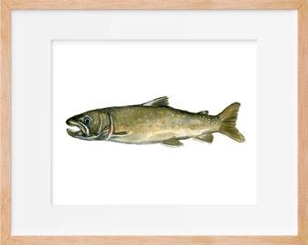 Bull Trout, Game Fishing, Trout Print, Hunting and Fishing, Fly Fishing, Fish Art, Fishing Decor, Trout Print, Fishing Wall Art