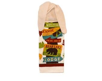 Lodge Decor, Lake Kitchen Decor, Kitchen Hand Towel, Bear Decor,  Cabin Decor, Hand Towel, Animal Lover, Tie on Towel, Towel with Ties