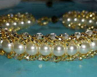 Elegant beaded bracelet with beautiful Swarovski and crystal pearls comes in many colours to create a stunning gift for a bride, many others