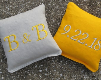 Personalized Wedding Cornhole Game Bags - Couple's Initials & Wedding Date - Set of 8 Shown in Grey and Yellow - Great Gift!!