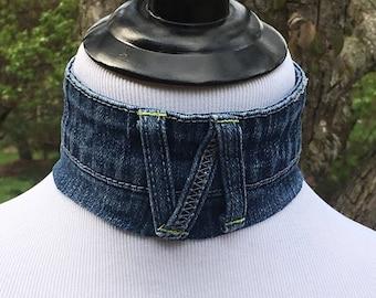 Handmade Denim Choker, Denim Choker, Upcycled Denim, Upcycled Jeans, Denim Looped Choker with T Shirt Ties, Blue Jean Choker, Denim Necklace