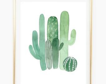 Cactus - Watercolor Art Print, cactus painting, deco, gift, wall gallery, botanical art, modern watercolor