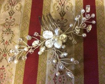 Bridal hair accessories, wedding hair accessories, bridal comb, wedding comb, handmade freshwater pearl Swarovski crystal hair comb
