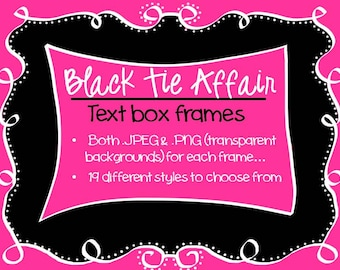 FRAMES - Black Tie Affair - Black and White Text Frames - Instant Download