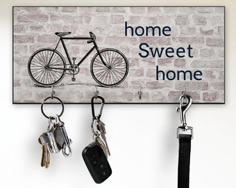 Wall Key Holder, Key Rack for Wall, Bicycle Wall Decor, Home Sweet Home Sign, Housewarming Gift for Him, New Apartment Gift for Guy, Cyclist
