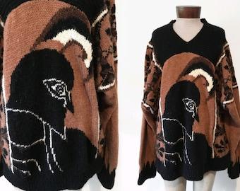 Vtg SOFT chunky oversized KNIT sweater - large graphic - blanket - RARE - sz M L Xl