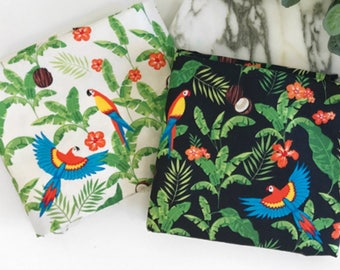 Coconut Palm Leaf Parrot patterned Fabric made in Korea by Half Yard