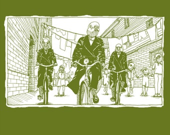 Women's Organic T-shirt -  Pigeons riding bicycles Inspired by the TV series, Call the Midwife!