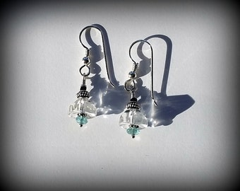 Clear Crystal Earrings - sterling silver - Light Aqua Gemstones