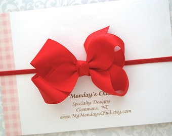 Red Baby Bow Headband or Hair Clip, Red Bow Headband, Boutique Bow, Baby Headband, Red Hair Bow, Toddler Headband, Baby Bows, Toddler Bow