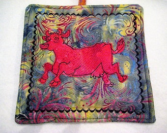 Freehand stitched, whimsical, red cow potholder