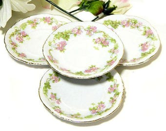 Four MZ Austria Habsburg China Pink Floral Butter Pats