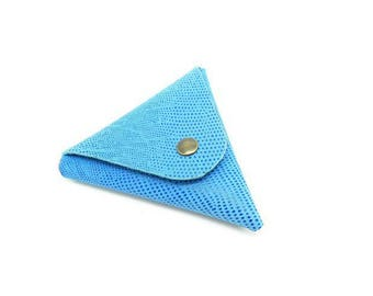 triangle leather wallet blue snake - 10 cm