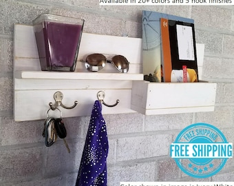 FREE SHIPPING - Modern Rustic Mail Organizer - 2 Double Hooks - Reclaimed Wood Mail Slot with Key Hooks - Mail Holder