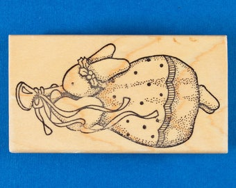Christmas Angel Bunny Rubber Stamp - Flying with Trumpet - Daisy Kingdom