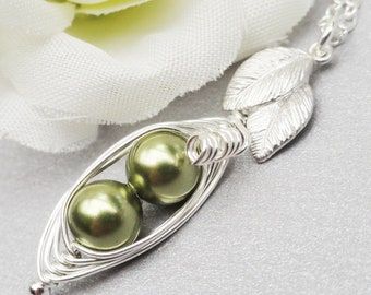 Two Green  Petite Peas In A Pod Necklace Sterling Silver ( Choose Your Colors)