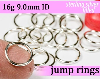 16g 9.0mm ID silver filled jump rings -- 16g9.00 jumprings links silverfilled silverfill