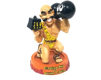 """Ringling Brothers and Barnum & Bailey Strongman Collectible, Strongman Figurine, Vintage Circus Kitsch, Weight lifting collectible, 7"""" x 5"""""""